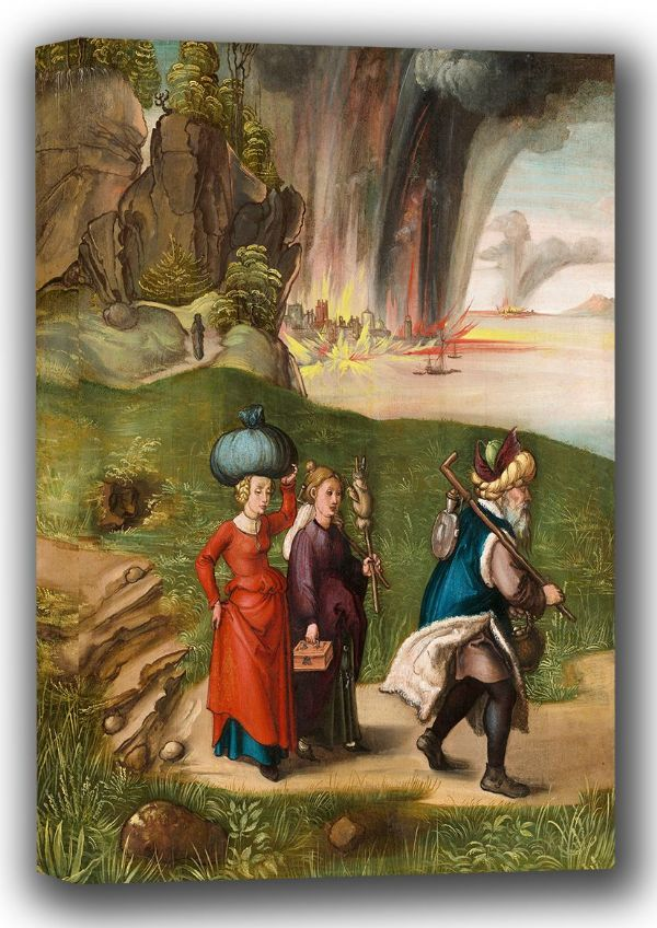 Durer, Albrecht: Lot Fleeing With His Daughters from Sodom. Fine Art Canvas. Sizes: A4/A3/A2/A1 (001913)